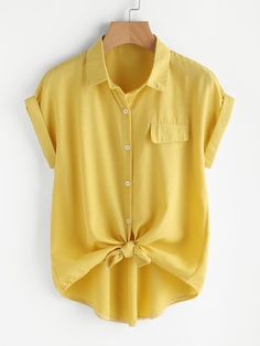 SheIn offers Rolled Cuff Knotted Hem - French Shirt - Ideas of French Shirt - Shop Rolled Cuff Knotted Hem Shirt online. SheIn offers Rolled Cuff Knotted Hem Shirt & more to fit your fashionable needs. Plus Size Blouses, Plus Size Tops, Collar Shirts, Shirt Blouses, Tie Blouse, Short Sleeve Blouse, Shirt Sleeves, Casual Dresses, Short Dresses