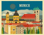 Munich, Germany Destination Travel Print - Travel Wall Art - for Home, Office, and Nursery - style E8-O-MUN