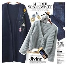 """Chunky Cardigan"" by vanjazivadinovic ❤ liked on Polyvore featuring Guerlain, Dolce&Gabbana, Disney, vintage, polyvoreeditorial and zaful"