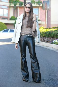 flare leather jeans.