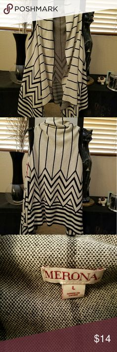 Long Striped/Chevron Pattern Shrug/Cardigan Beautiful Striped/Chevron Pattern Sleeveless Shrug/Cardigan. New w/tags. Heavier material with long front. Off-white/cream color w/black stripes. Size large. Merona Sweaters Shrugs & Ponchos