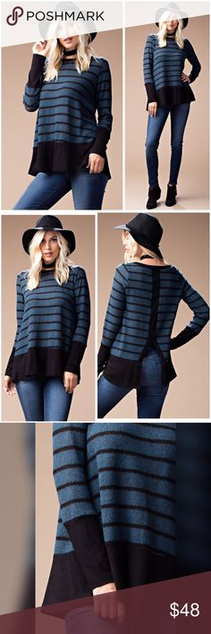 Deep teal/black back vent soft cozy sweater💋 This brushed cozy striped sweater features crew neckline, contrast rib fabric at cuffs&hemline , open slit back detail and relaxed fit. Sweaters