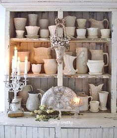 White McCoy pottery and ironstone ~ Art Deco Vases ~ Vintage Pitchers ~ Antique Pottery ~ McCoy ~ Roseville Pottery ~ ❤️❤️❤️#LGLimitlessDesign and #Contest