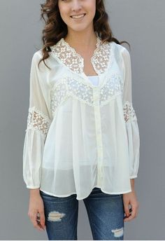 Such a beautiful top. Chiffon white blouse with detailedlace around the collar and between the sleeves.Bohemian Chic styleSizes:Small: 0-4Medium: 5-7Large: 8-10XL: 11-14model is wearing a size small and an undershirtFor more info please email journeyfive.orders@gmail.com