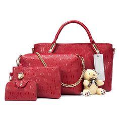 Women Bag Top-Handle Bags Female Famous Brand 2017 Women Messenger Bags  Handbag Set PU Leather Composite Bag set of 4 f6773a4ef34f4