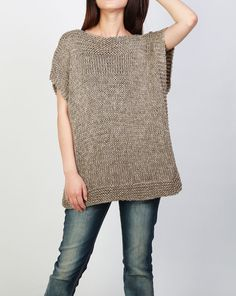 Hand knit Tunic sweater eco cotton woman sweater vest charcoal - Hand stricken Tunika Pullover Öko Baumwolle Frau Pullover Source by - Knit Vest, Tunic Sweater, Grey Sweater, Cotton Sweater, Cotton Vest, Knit Sweaters, Heutiges Outfit, Hats For Women, Sweaters For Women
