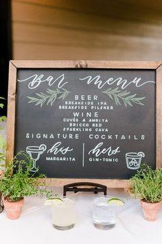 Chalkboard bar menu with signature cocktails Wedding Menu Template, Wedding Menu Cards, Wedding Signs, Wedding Ideas, Diy Wedding, Garden Wedding, Summer Wedding, Wedding Decorations, Wedding Inspiration
