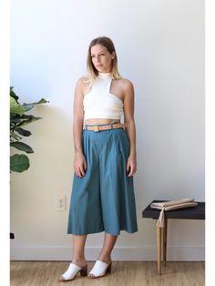 """Vintage Teal Culotte Pants 26-27"""""""