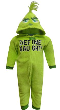bdf3b5bf6 Dr Seuss Grinch Define Naughty Kids Onesie Pajama