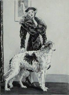 Dennis, Morgan (b,1892)- Borzoi w Woman, 1930s -2b