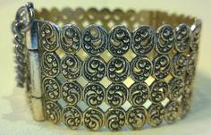 Vintage bangle filigree cuff bracelet silver by TheLittleIrishShop Vintage Costume Jewelry, Vintage Costumes, Game Of Thrones Cersei, Medieval Games, Cuff Bracelets, Bangles, Renaissance Fashion, Vintage Silver, Filigree