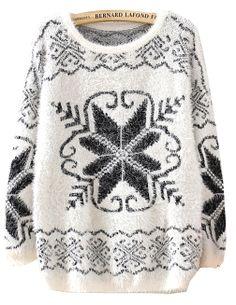 Beige Long Sleeve Snowflake Pattern Knit Sweater US$30.98
