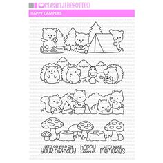 Diy Halloween Toys, Diy And Crafts, Arts And Crafts, Doodles, Simon Says Stamp, Happy Campers, Digital Stamps, Clear Stamps, It's Your Birthday
