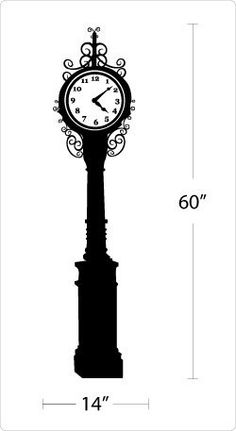 Vintage Street Clock Tower Vinyl Wall Art Decal. $29.99, via Etsy.
