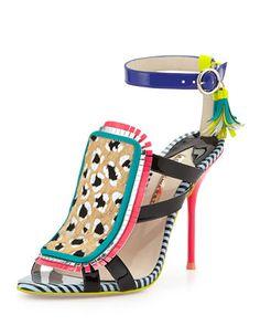 Marissa Calf Hair Fringe Sandal, Tropical Leopard by Sophia Webster at Neiman Marcus.