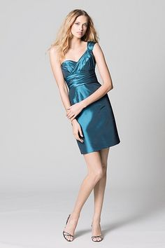 Wtoo Maids Dress 378; luminescent taffeta one-shoulder twist-front strap and draped bodice with above-the-knee length pencil skirt. Also available in stretch cotton sateen as style 348. in Plum