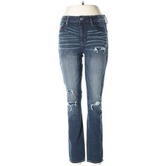 Pre-owned American Eagle Outfitters  Jeggings Size 10: Dark Blue... ($17) ❤ liked on Polyvore featuring pants, leggings, dark blue, blue pants, dark blue trousers, dark blue jeggings, denim leggings and blue jeggings
