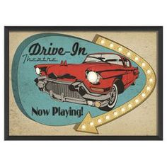 Wall art with a retro drive-in display. Product: Framed wall artConstruction Material: Paper, wood and glass Drive In Theater, Retro Logos, Vintage Signs, Vintage Surf, Vintage Ads, New Wall, Joss And Main, Retro Design, Wall Signs