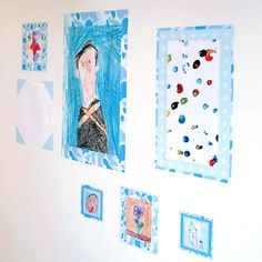 "Laminate pictures and drawings and use arty duct tape and washi tape to ""frame"""