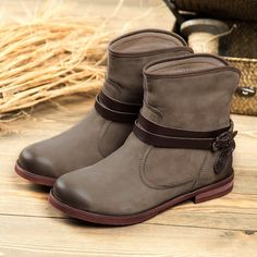 (64.35$)  Watch now - http://ai5pv.worlditems.win/all/product.php?id=32685471034 - Winter Women Ankle Boots The Best Quality Cow Leather Plush WoMen Short Boots Fashion Buckle Zip Ladies Snow Boots Size 25-61