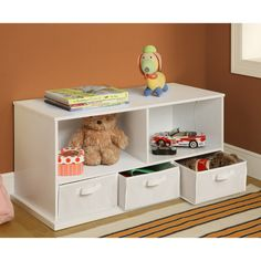 Badger Basket Shelf Storage Cubby with Three Baskets - White - Toy Storage at Hayneedle