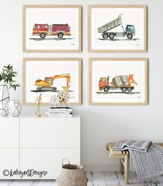 Set of 4 Construction Vehicle Prints, Kids Gallery Wall Set, Truck Wall Art, Fire Truck Print Nurser