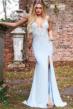 Jovani - 54927 Sleeveless Embellished Deep V-neck Trumpet Dress Formal Dresses For Men, Grad Dresses Short, Prom Dresses For Teens, Prom Dresses Blue, Pageant Dresses, Formal Wear, Sexy Dresses, Trumpet Dress, Jovani Dresses