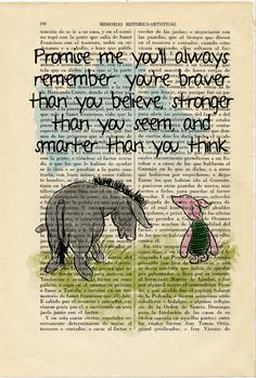 Winnie the Pooh Eeyore and Piglet old book page art print Quote Original Poster Dorm Room Print Gift Wall Decor Dictionary - Winnie the Pooh Eeyore and Piglet old book by ThePurpleHamster Best Picture For back tattoo - Book Page Art, Old Book Pages, Old Books, Book Art, Bible Art, Eeyore Quotes, Winnie The Pooh Quotes, Art Prints Quotes, New Quotes