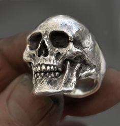 Skull Ring Large size full jaw silver mens skull biker masonic rock n roll gothic handmade jewelry .925 etsy
