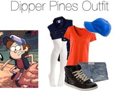 """""""Dipper Pines (from Gravity Falls) Inspired Outfit"""" by hbgirl2001 on Polyvore"""