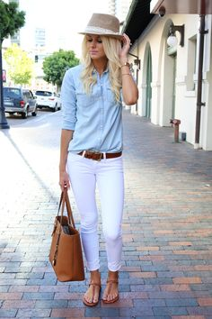 White jeans, denim shirt, brown accessories