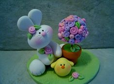 Bunny Easter Topiary Chick Figurines by countrycupboardclay