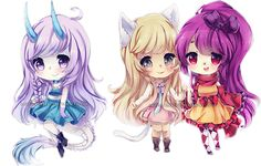 chibi commissions 7 by LaDollBlanche.deviantart.com on @deviantART