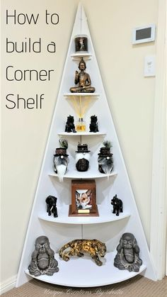 This step by step tutorial will show you how to make this large tiered corner shelf. This shelf is great for small corners in your home you would like to fill but have no idea what to do. This shelf can also be decorated in the theme of all your special holidays. Corner Christmas Tree, Christmas Wood, Christmas Themes, Holiday Decor, Blue Christmas, Christmas Crafts, Diy Furniture Projects, Diy Projects, Furniture Makeover