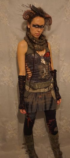 *post apocalyptic warrior, created by Fable Dresses on etsy*... costume road warrior mad max tribal wasteland weekend woman halloween apocalypse