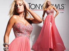 Tony Bowls Delicate Beaded Sweetheart Chiffon Long Prom Dress