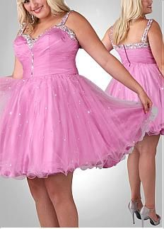 Cute Tulle & Satin A-line Beaded Sweetheart Short Plus Size Prom Dress.On sale  50% Off.