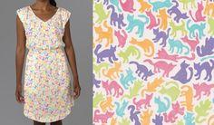 Short-Sleeve Cat-Print Dress