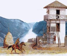 """""""Legionaries building a watch-tower above the Danube gorge"""", Peter Connolly"""
