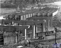 The M40 near High Wycombe looking towards London. March 1968. The railway line closed 2 years later - all that effort for nothing!  Photo by Robert, found on www.cbrd.co.uk