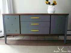 Simple Home Life: Very Gray Mid Century and Yellow kendall charcoal ben moore Mid Century Sideboard, Mid Century Furniture, Furniture Makeover, Diy Furniture, Furniture Refinishing, Vintage Furniture, Repurposed Furniture, Painted Furniture, Living Room Plan