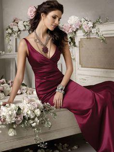 A-Linie aus Satin Bodenlang Rotwein Brautjungfernkleid Abendkleidung