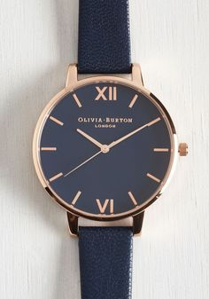 Classic Company Watch in Navy & Rose Gold - Big, #ModCloth