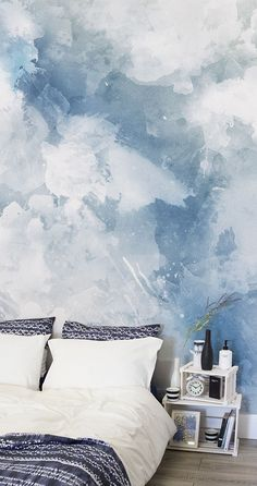 Blue White Grunge Paint Watercolor Mural After Something A Bit Different For Your Walls This Blue Watercolor Wall Mural Is Perfect For Creating A Calming Atmosphere In Bedroom Spaces Looking Stylish At The Same Time Watercolor Wallpaper, Watercolor Walls, Paint Wallpaper, Bedroom Wallpaper Accent Wall, Interior Wallpaper, Wallpaper Murals, Wallpaper Designs, Wallpaper Quotes, My New Room