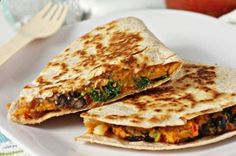 Sweet Potato, Black Bean, and Kale Quesadillas use whole wheat tortillas
