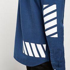 Blue stripe grandad casual shirt - long sleeve shirts - shirts - men