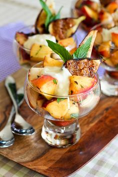 Grilled Fruit Salad with Creamy Goat Cheese