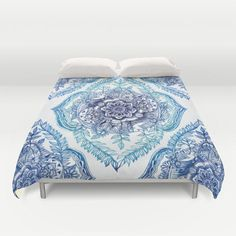 Indian Ink - in Blues Duvet Cover by Micklyn from Society6. Saved to Pillows and Home Decor, Bedding & More :).