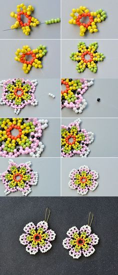Seed bead jewelry picture tute - floral component ~ Seed Bead Tutorials Discovred by : Linda Linebaugh Seed Bead Earrings, Seed Bead Bracelets, Beaded Earrings, Seed Beads, Flower Earrings, Hoop Earrings, Seed Bead Art, Friendship Bracelets, Beading Tutorials