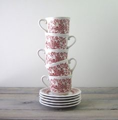 Brown and White Ironstone Teacups and Saucers Set of Five on Etsy, $28.00